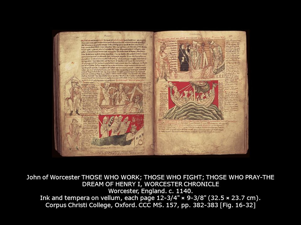 John of Worcester THOSE WHO WORK; THOSE WHO FIGHT; THOSE WHO PRAY-THE DREAM OF HENRY I, WORCESTER CHRONICLE Worcester, England. c. 1140. Ink and tempera on vellum, each page 12-3/4 × 9-3/8 (32.5 × 23.7 cm). Corpus Christi College, Oxford. CCC MS. 157, pp. 382-383 [Fig. 16-32]